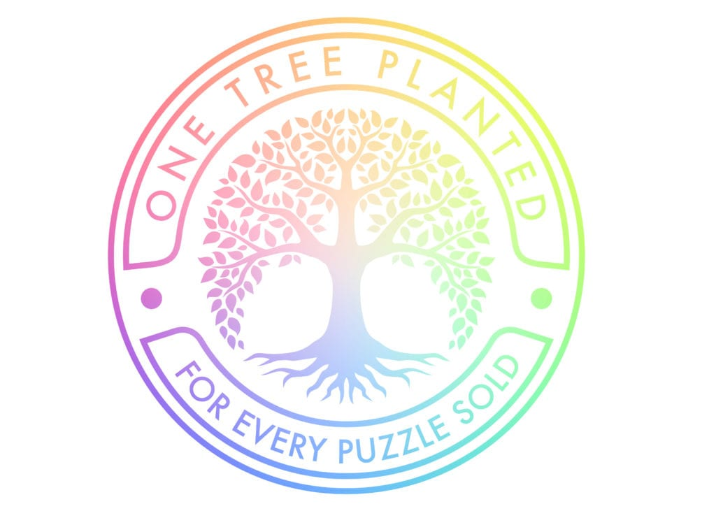 one tree planted for every puzzle sold seal by Cloudberries